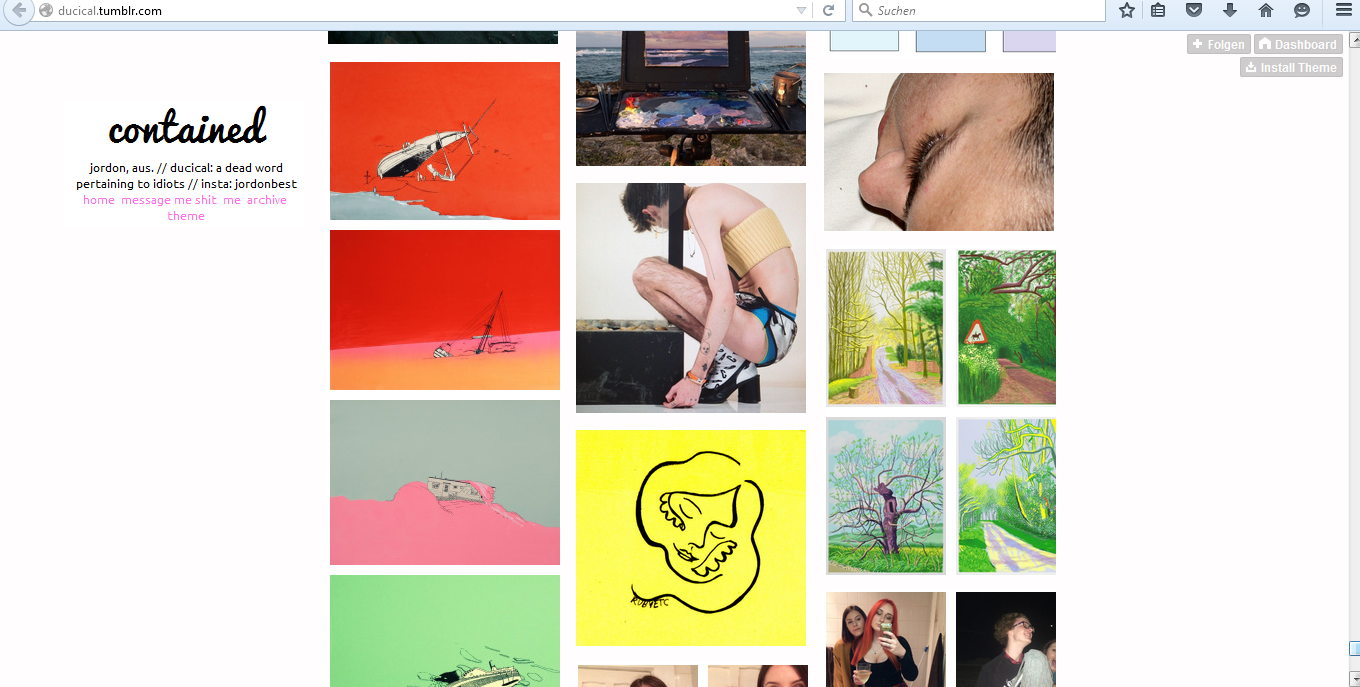Abb. 1: Screenshots von Tumblr-Blogs mit Hockney-Motiven