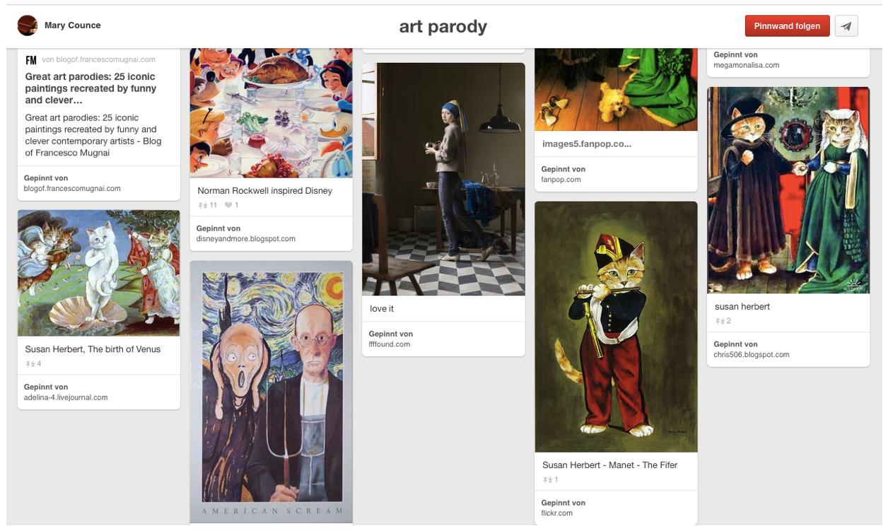 Screenshot der Bildersammlung 'Art Parody' auf Pinterest