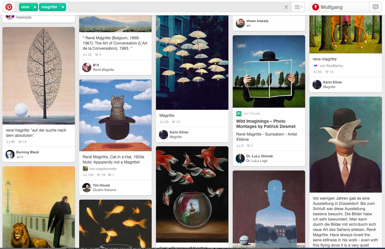 "Screenshot zum Schlagwort ""René Magritte"" auf Pinterest"
