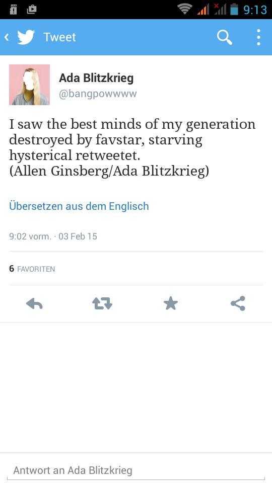 Tweet von @bangpowwww vom 3. Februar 2015, Screenshot aus Twitters offzieller Android-App.