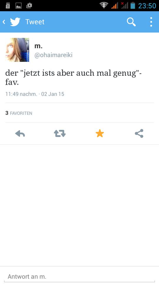 Tweet von @ohaimareiki vom 2. Januar 2015, Screenshot aus Twitters offzieller Android-App.