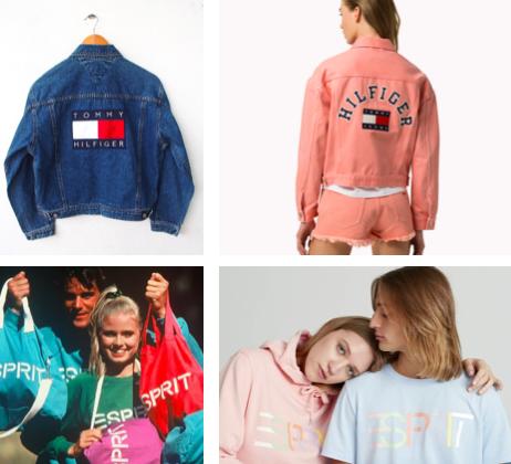 Clean-Pop und Nostalgie. Tommy Hilfiger und Esprit erinnern in ihren aktuellen Kollektion an Kult-Kleidungsstücke aus den 1980er und 90er Jahren – und färben diese für die Neuauflage in Pastelltöne ein.