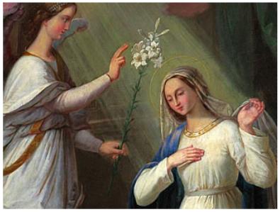 Verkündigung des Herrn, Gemälde im Fuldaer Dom, Ausschnitt