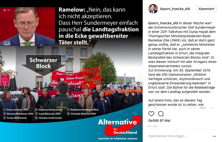 Björn Höcke auf Instagram