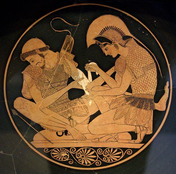 Achilles und Patroklos (Innenseite eines attischen rotfigurigen Kylix, um 500 v. Chr. Aus Vulci.)