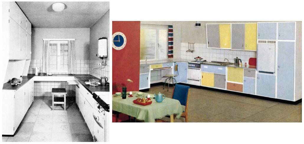 Abb. 4: Küche zu Anfang der 1950er Jahre, WKS Küche des Architekten Sep Ruf (links), Abb. 5: Küche in Pastellfarben, um 1955 (rechts)