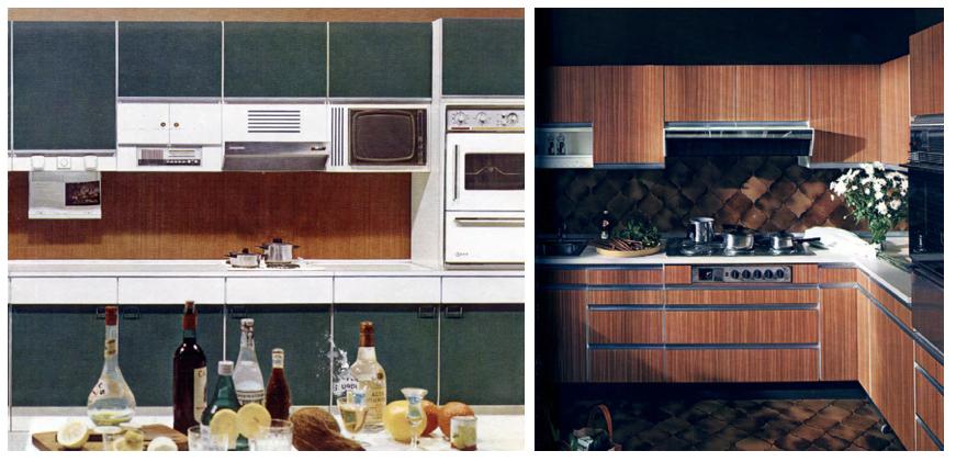 Abb. 6: Modell Majestic 500 der Firma Nieburg Küchen, 1966 (links), Abb. 6a: Küchenfront mit Kiefer-Dekor. (rechts)