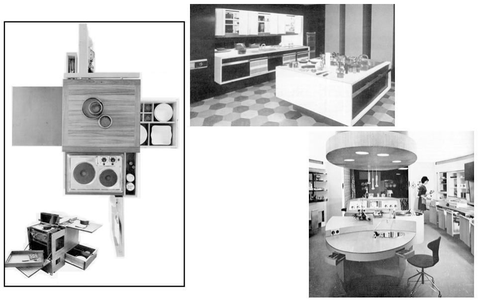 Abb. 8: Mobiler Küchenwagen Cucina minima, Joe Colombo, 1964 (links), Abb. 9: Englische Kücheninsel Masterplan, John Heritage, 1963 (mitte), Abb. 10: Novellipsenküche, Firma Novelectric, 1965 (rechts)