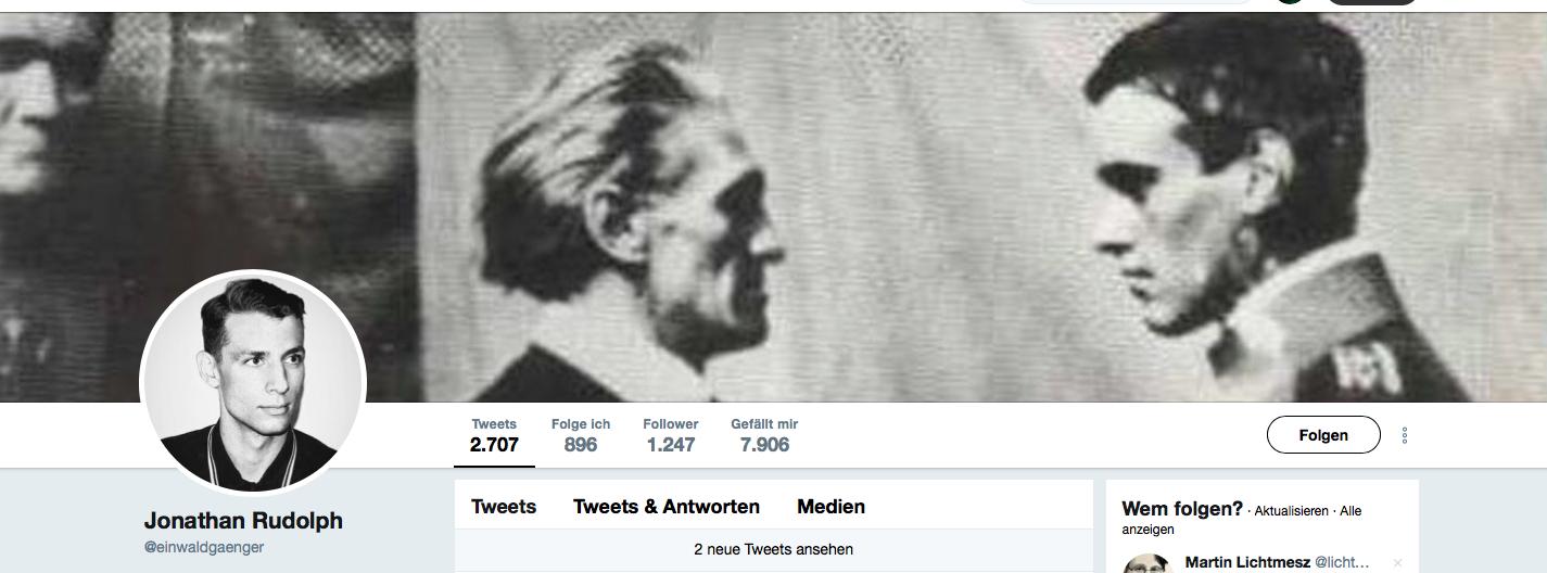 """Jonathan Rudolph bei Twitter, nennt sich """"einwaldgaenger"""""""