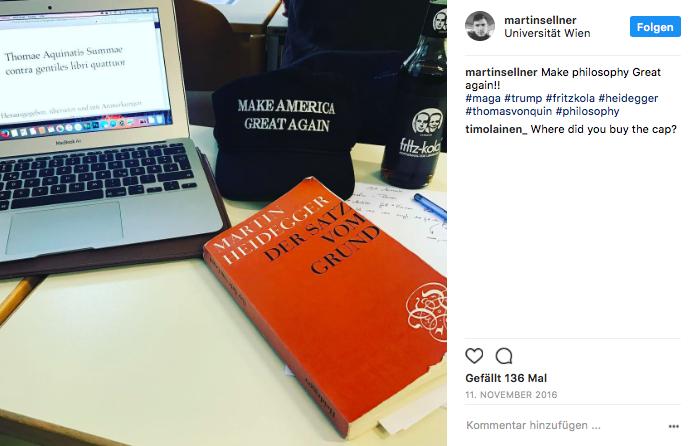 Martin Sellner liest Heidegger, lernt bei Thomas von Aquin, wie man sich als Christ erfolgreich gegen Moslems und Juden behauptet, und bekennt sich zu Donald Trump