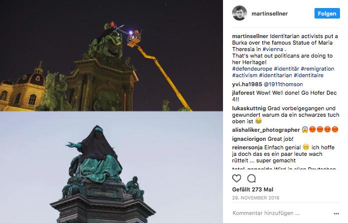 In der Nacht vom 28. zum 29. November 2016 verhüllten Identitäre in Wien ein Denkmal von Kaiserin Maria Theresia mit einer Burka