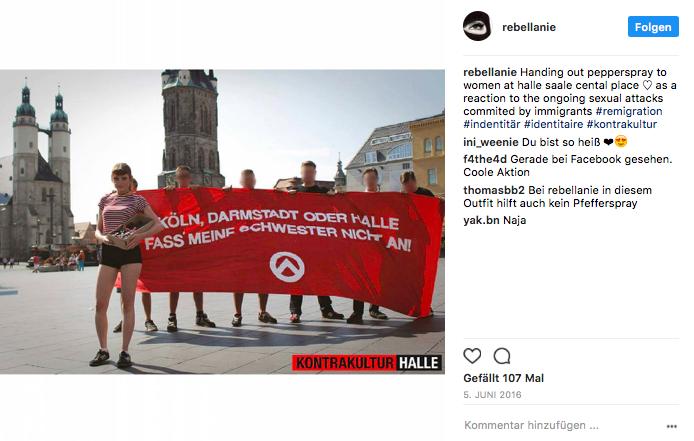 Am 5. Juni 2016 verteilten Aktivisten der Kontrakultur Halle Abwehrspray an Frauen
