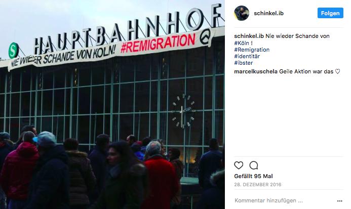 Am 28.12.2016 protestieren Identitäre am Kölner Hauptbahnhof
