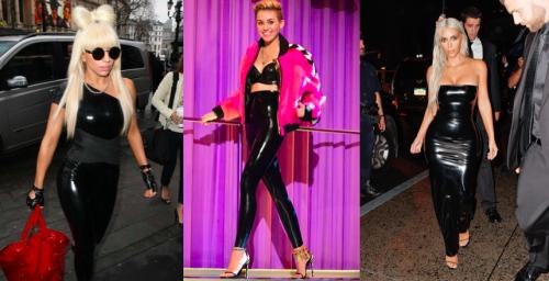 Lady Gage, Miley Cyrus und Kim Kardashian im Latex-Outfit