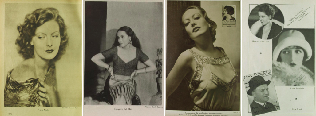 Von links nach rechts: Scherl's Magazin 4 (1928), H.10, Oktober (Garbo); Der Querschnitt 11 (1931), H.1, Januar (del Rio); Uhu 9 (1932/33), H.7, April (Crawford); Revue des Monats 3 (1928/29), H.1, November (Shearer, oben links)