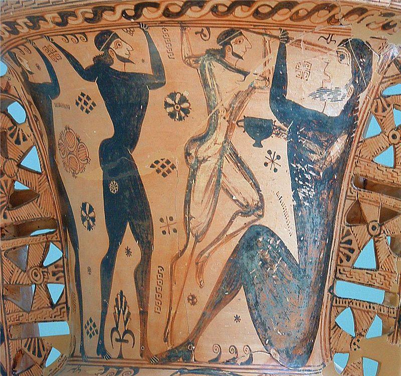 Polyphem wird geblendet. Proto-attische Amphora um 650 v. Chr., Museum von Eleusis.