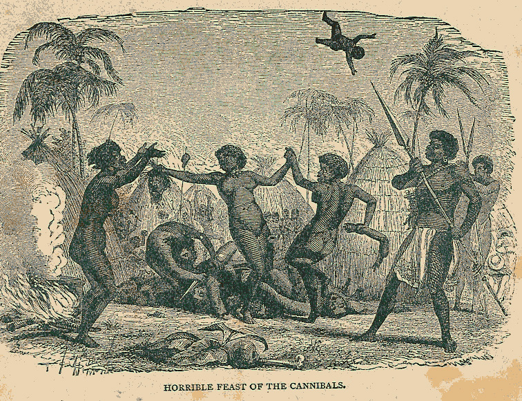 'Horrible Feast of the Cannibals', Illustration zu Stanley's Reisen in Afrika, 1848 von J. W. Bueb.