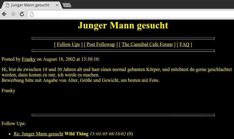 """Online-Anzeige von Armin Meiwes unter dem Pseudonym """"Franky""""."""