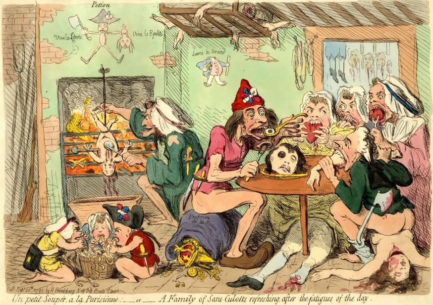 """James Gillrays """"un petit souper"""", 20. September 1792, satirische Darstellung der Sans-Sculotten."""