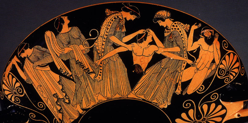 Pentheus wird von den Bacchantinnnen zerrissen. Attische Amphora um 480 v. Chr., Kimbell Art Museum, Fort Wort.